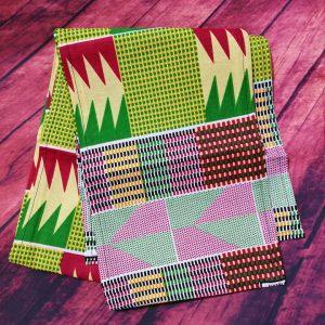 green-red kente print
